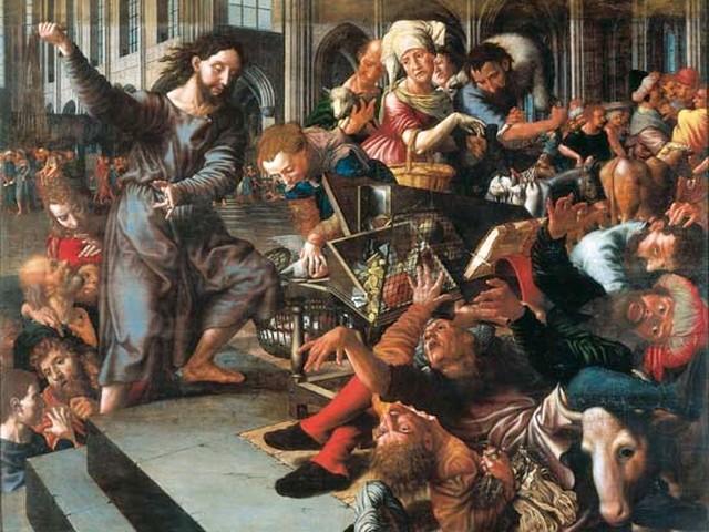 Jan Sanders Van Hemessen - Christ chassant marchands Temple