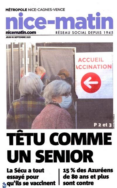 Nice-Matin - 16 septembre 2021 - Séniors têtus