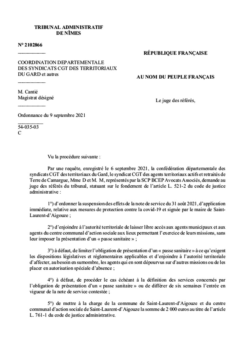 Passe sanitaire- Saint-Laurent-Aigouze