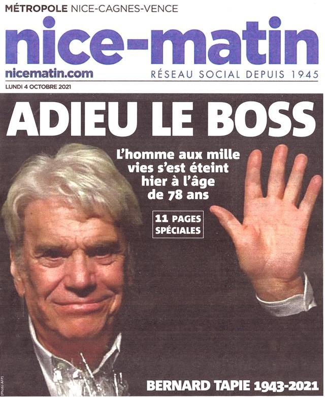 Nice-Matin - 4 octobre 2021 - Bernard Tapie